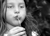 Cute young girl blowing dandelion seeds
