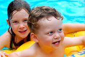 picture of floaties  - Cute Young Boy in Pool with Sister Looking On - JPG