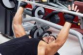 Weightlifter Or Bodybuilder Lifting Weights poster
