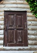 The Old Wooden Door. Ancient Antique Wooden In An Old Wall. Ancient Decorative Wooden Door. Historic poster