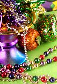 stock photo of debauchery  - Lots of beads and decorations for mardi gras - JPG
