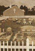 image of fundamentalist  - Antique cemetery by church with aged metallic overlay - JPG