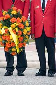 picture of united states marine corps  - Marine corps war veterans holding ceremonial wreath - JPG