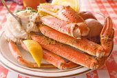 Crab legs seafood platter with sides