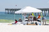 PENSACOLA BEACH - JUNE 23: BP workers attempt to clean oil off the beaches on June 23, 2010 in Pensa