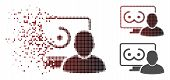 Online Erotics Viewer User Icon In Dispersed, Pixelated Halftone And Undamaged Entire Variants. Part poster