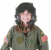 stock photo of bomber jacket  - girl who wants to fly - JPG