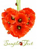 Floral love card (poppy heart)