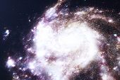3d Illustration Galaxy In Deep Space. Spiral Galaxy Consisting Of Star Dust, Nebula Of Gas. Concept  poster