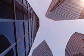 3d Illustration Low Angle View Of Skyscrapers. Skyscrapers At Sunset Looking Up Perspective. Bottom  poster