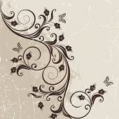 Decorative background with a branch and butterflies