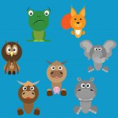 Set Of Animal Icons. Vector Illustration Of Cartoon Animals. Set Of Funny Animals. poster
