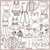 pic of jeans skirt  - Doodle set children - JPG