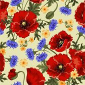 Nahtlose Hintergrund mit Roter Mohn und Kornblumen