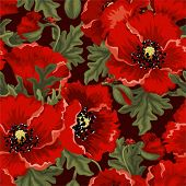 Seamless retro a background with red poppies and ladybirds