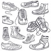 Big set of sneakers for men, women,teenagers and children
