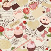 Seamless romantically background  with roses, cards, stamps, sweets and paper scraps