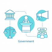 Government Concept Icon. Politics Idea Thin Line Illustration. Political Campaign. Government System poster