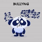 Bullying. Mental Health Problem. Little Sad Panda Being Bullied By Classmates On A Gray Background.  poster
