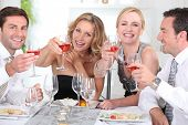 pic of party people  - Group of adults having a dinner - JPG