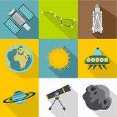 Universe Icons Set. Flat Illustration Of 9 Universe Icons For Web poster