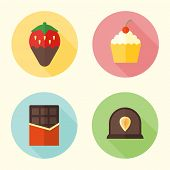 Set Of Sweets And Confection Flat Design Round Icons With Long Shadow, Chocolate Bar, Cupcake, Straw poster