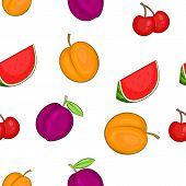Orchard Fruits Pattern. Cartoon Illustration Of Orchard Fruits Pattern For Web poster