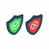 Shields And Check Marks Icons Isometric Set. Red And Green Shield With Checkmark And X Mark. Protect poster