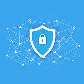 Computer Data Security Access Concept. Protect Sensitive Data. Internet Security. Flat Design, Vecto poster