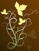 Vine leaves vector background.