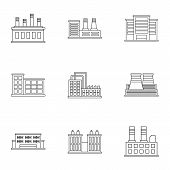 Production Plant Icons Set. Outline Illustration Of 9 Production Plant Icons For Web poster