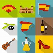 European Spain Icons Set. Flat Illustration Of 9 European Spain Icons For Web poster