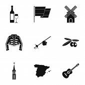 European Spain Icons Set. Simple Illustration Of 9 European Spain Icons For Web poster