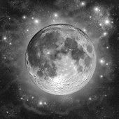 Full Moon in the silver clouds of star dust