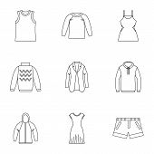 Clothing Icons Set. Outline Illustration Of 9 Clothing Icons For Web poster