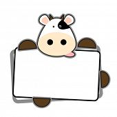 Funny cow holding blank label