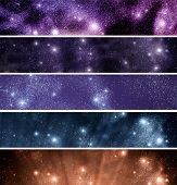 Space: brilliant star field. Banners set