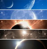 Space: eclipse. Banners set