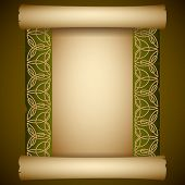 Vintage background. Ancient scroll with Celtic ornament