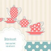 Background with retro polka dot tea set