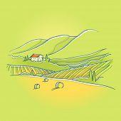 Paisaje toscano de verano con sweet house on the hill
