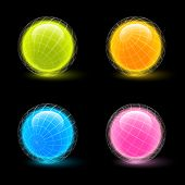 Glowing wireframe spheres isolated on black background