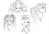 set of women faces