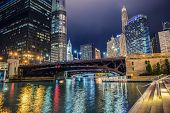 Illuminated City Of Chicago. Colorful Riverwalk. Chicago, Illinois, United States Of America. poster