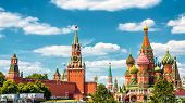 Moscow Kremlin And St Basils Cathedral, Russia poster