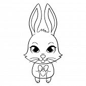 Cute funny bunny with large eyes, vector illustration
