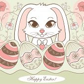 easter design with beautifully decorated eggs and a white bunny sitting in flowers, vector