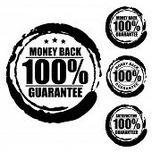 Vector advertising natural looking stamp (label, sign, seal, icon) for 100% money back guarantee ser