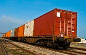 Container loaded on train wagons on a railway