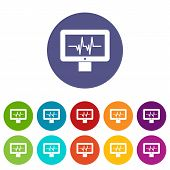 Electrocardiogram Monitor Set Icons In Different Colors Isolated On White Background poster